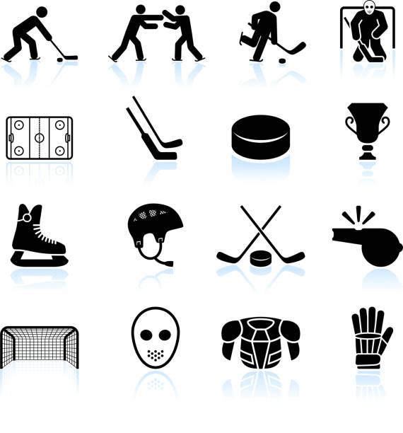 illustrations, cliparts, dessins animés et icônes de hockey noir et blanc ensemble d'icônes vectorielles libres de droits - hockey