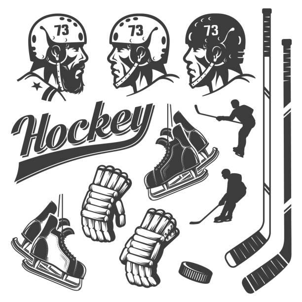 illustrations, cliparts, dessins animés et icônes de éléments de conception du hockey dans un style rétro vintage - hockey