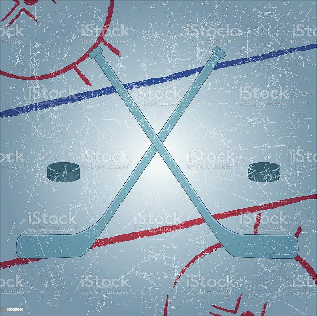 Hockey Emblem in grunge background vector art illustration
