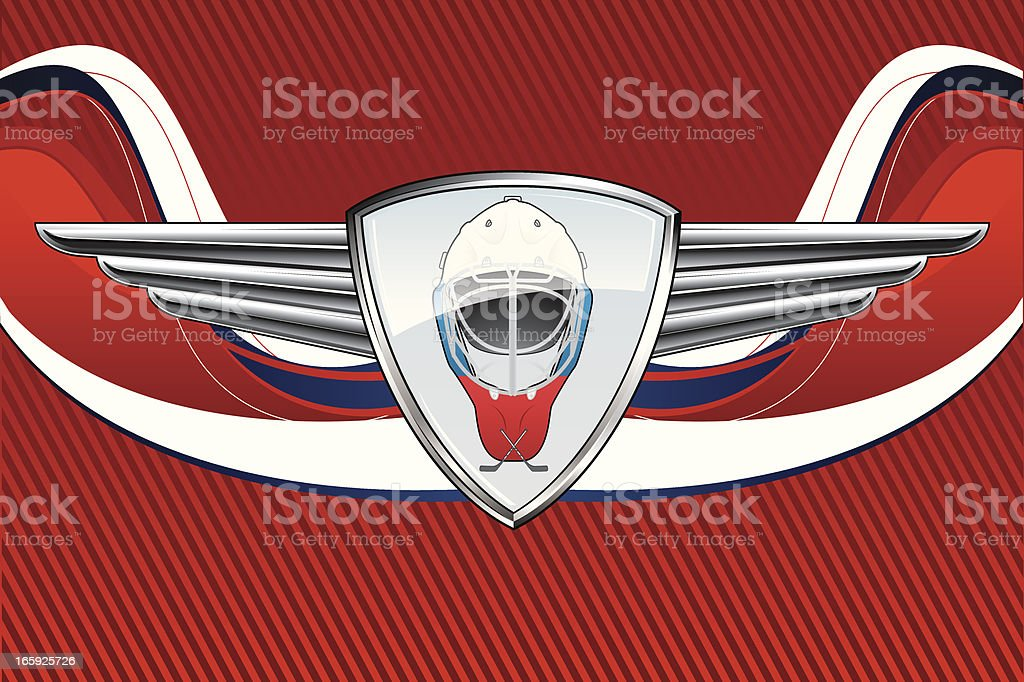 Hockey Emblem in Russian background royalty-free stock vector art