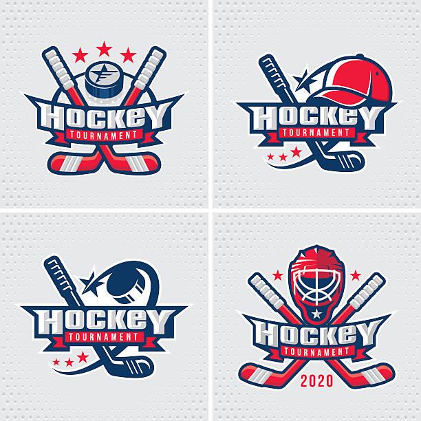 ilustraciones, imágenes clip art, dibujos animados e iconos de stock de hockey emblem template - hockey