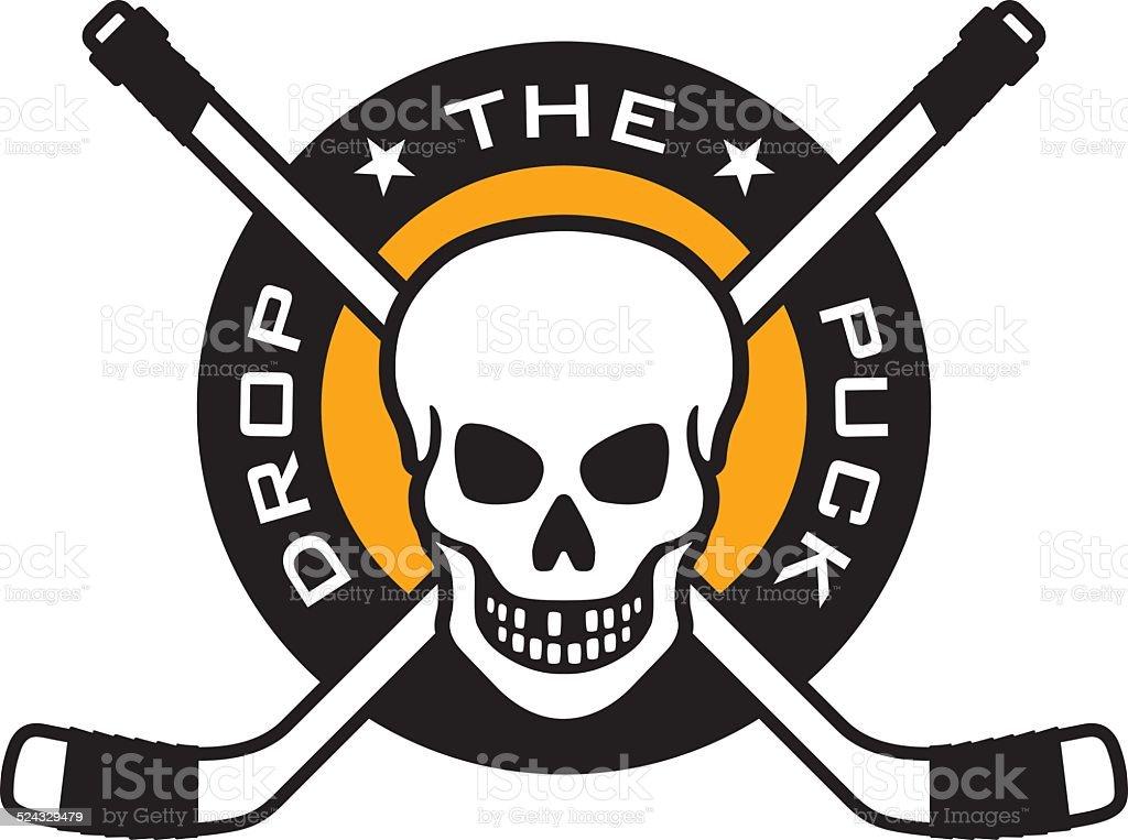 Hockey emblem with skull and crossed hockey sticks vector art illustration