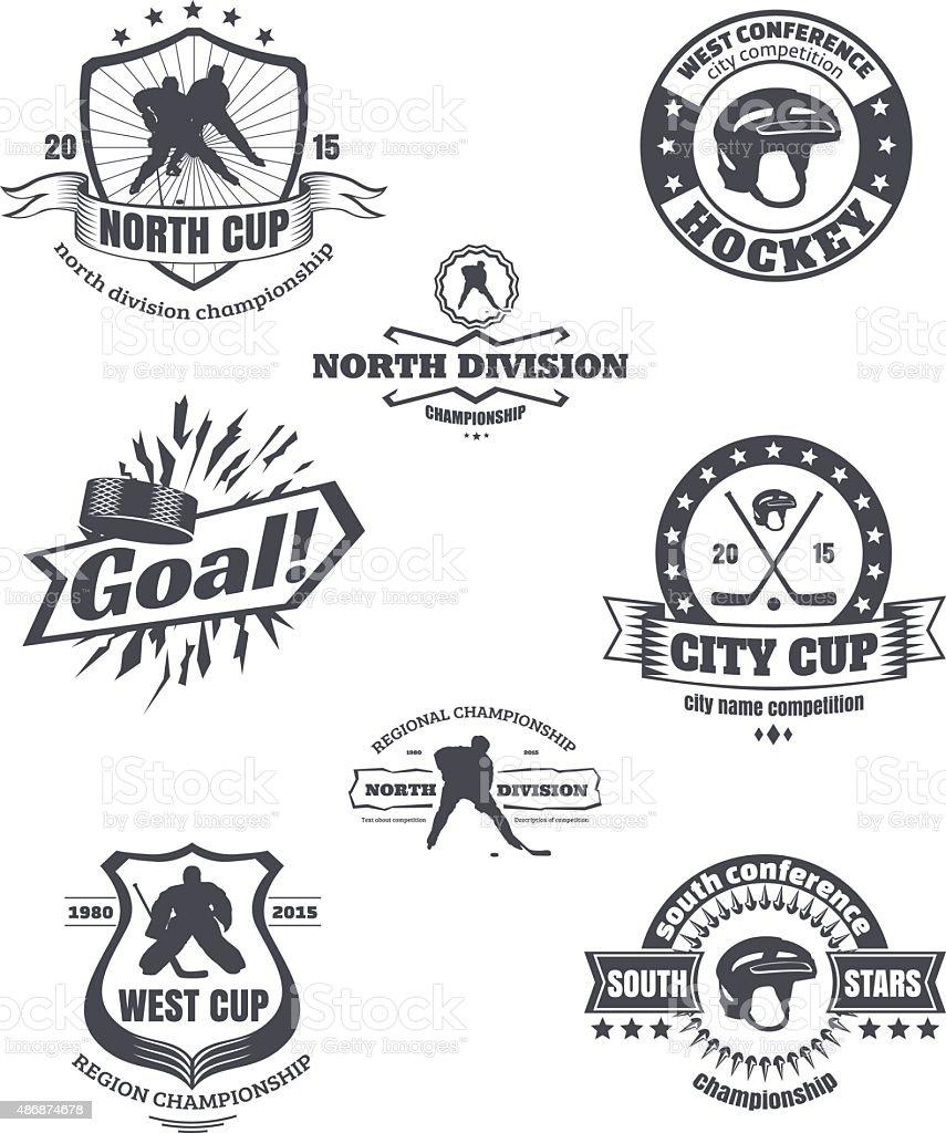 Hockey emblems vector art illustration