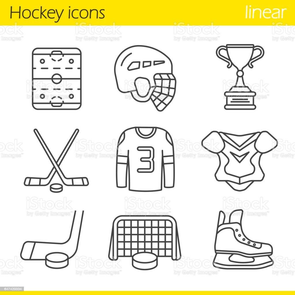 Eishockey Ausrüstung Symbole – Vektorgrafik