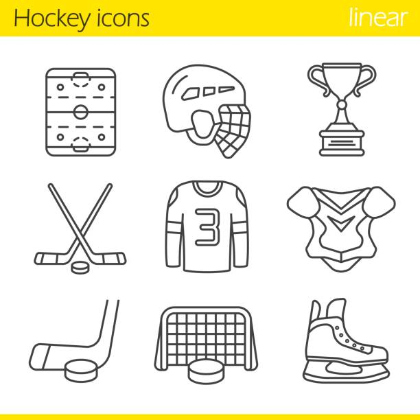 ilustraciones, imágenes clip art, dibujos animados e iconos de stock de iconos de equipos de hockey - hockey