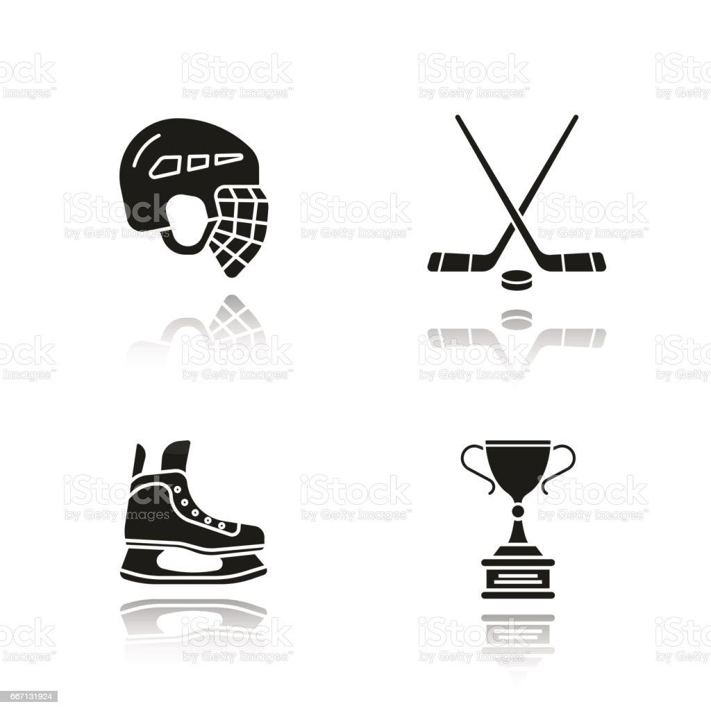 Hockey equipment icons vector art illustration