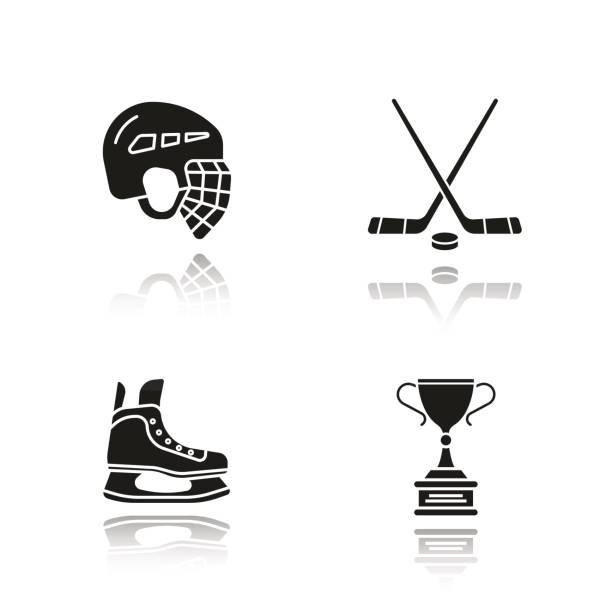 ilustrações, clipart, desenhos animados e ícones de ícones de equipamento de hóquei - hóquei