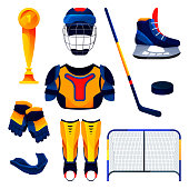 Hockey equipment set, training tools. Vector flat pictograms of hockey net, ice stick and puck, gloves, goblet, helmet, uniform or body protection. Sport accessories, game apparel, realistic icons.