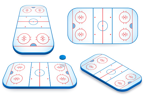 Hockey field vector illustration. Ice hockey rink in various angle views. 3d icon isolated on white. Element for your design.