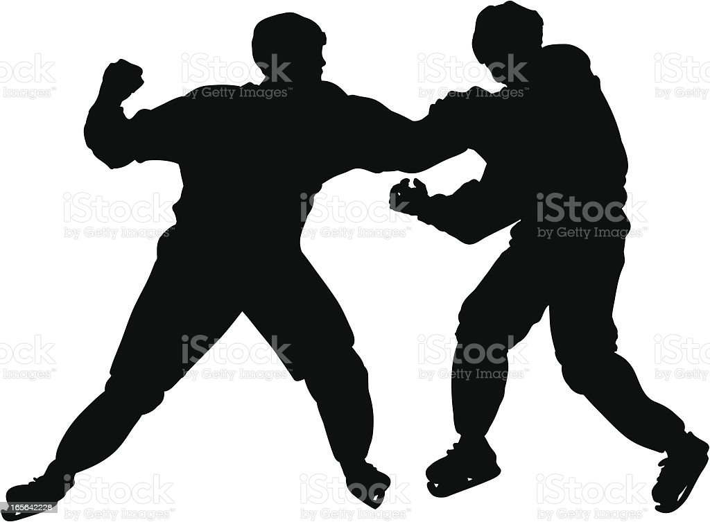Hockey Fight Silhouette royalty-free stock vector art