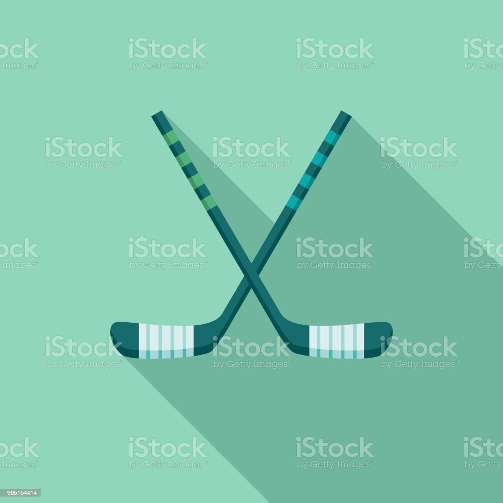 Hockey Flat Design Winter Icon with Side Shadow royalty-free hockey flat design winter icon with side shadow stock vector art & more images of blue