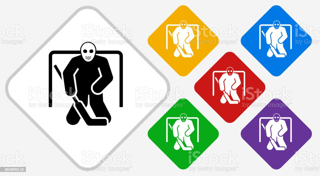 Hockey Goalie Color Diamond Vector Icon Stock Illustration