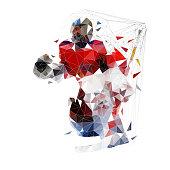 Hockey goalie, geometric vector illustration. Ice hockey player, low poly