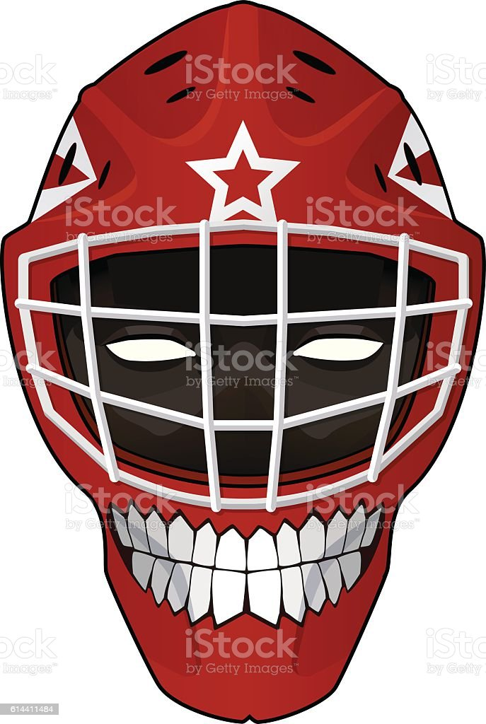 Hockey goalie helmet with evil face inside vector art illustration
