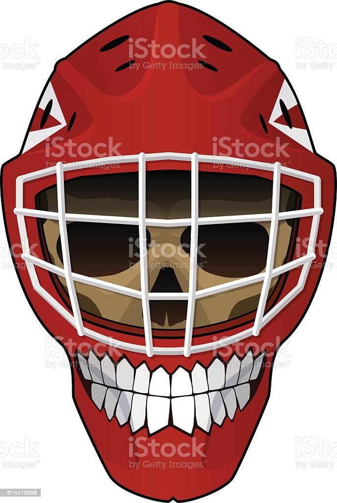 Hockey goalie helmet with scull inside vector art illustration