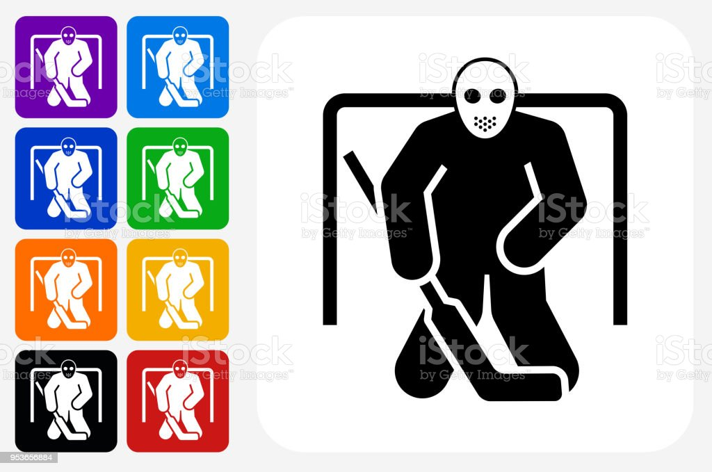 Hockey Goalie Icon Square Button Set Stock Illustration Download