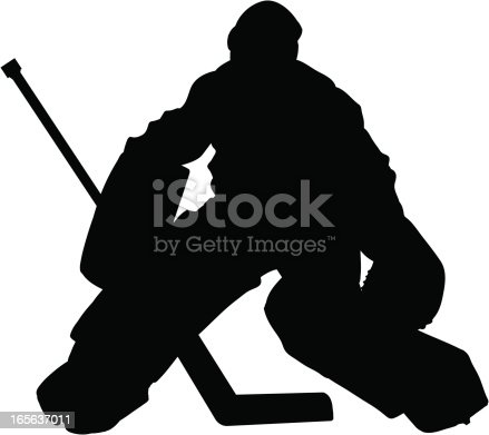 Silhouette of a Hockey Goalie. Simple shapes for easy printing, separating and color changes. File formats: EPS and JPG