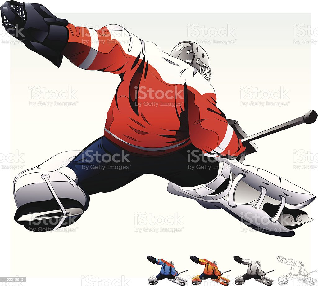 A hockey goalie with 4 smaller hockey goalies beneath royalty-free a hockey goalie with 4 smaller hockey goalies beneath stock vector art & more images of cut out