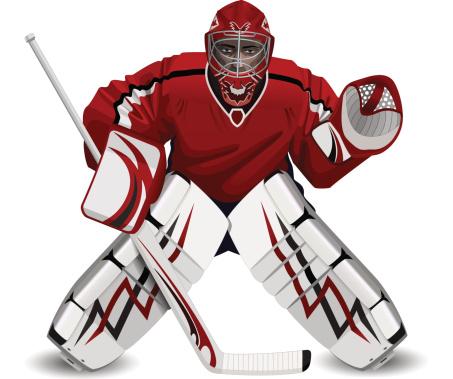 hockey goalie with a stick