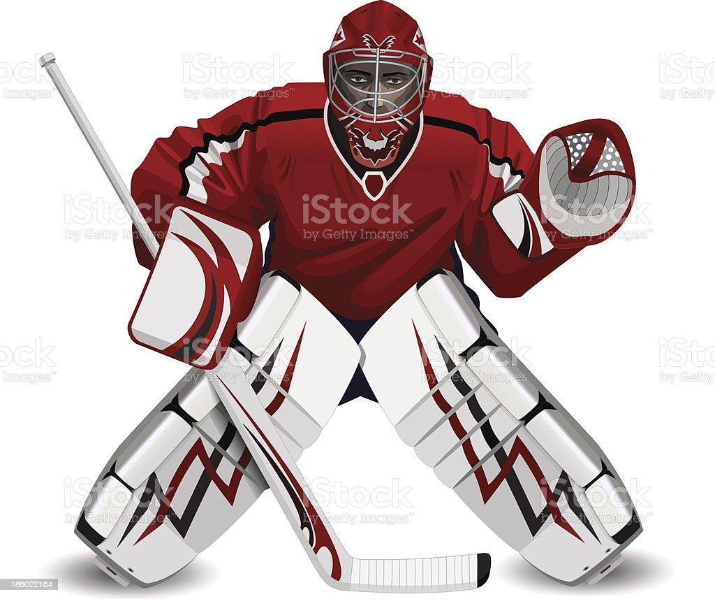 hockey goalie with a stick vector art illustration