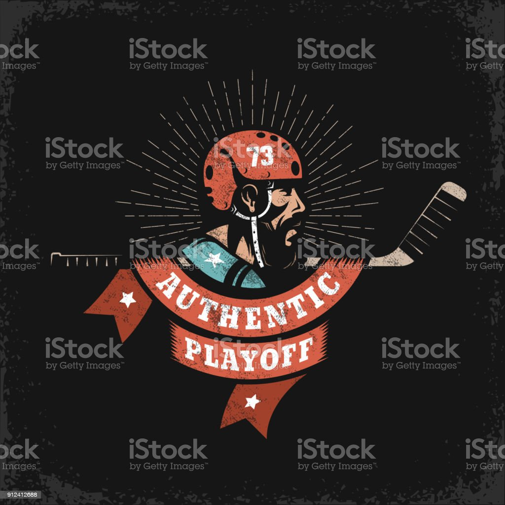 Hockey grunge emblem  with player, stick and heraldic ribbon vector art illustration