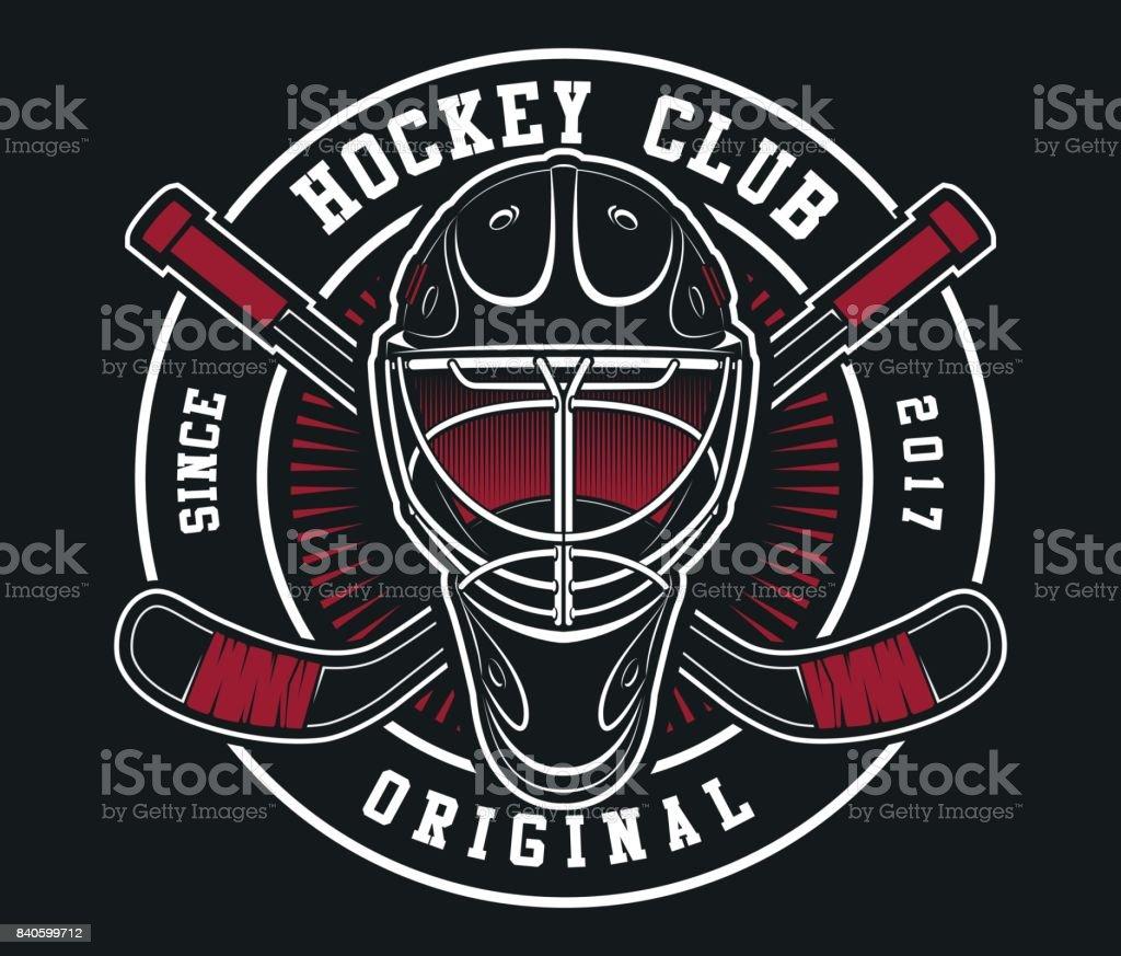 Hockey helmet with sticks emblem vector art illustration