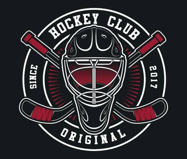 illustrations, cliparts, dessins animés et icônes de casque de hockey avec emblème de bâtons - hockey