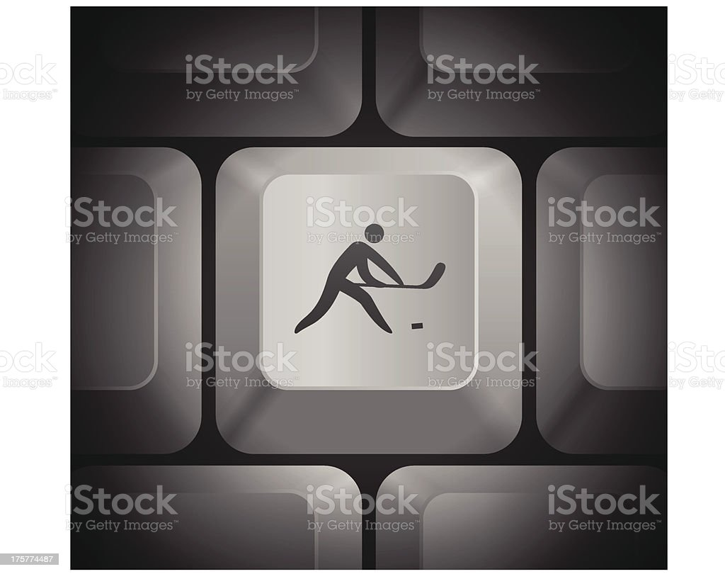 Hockey Icon on Computer Keyboard royalty-free stock vector art