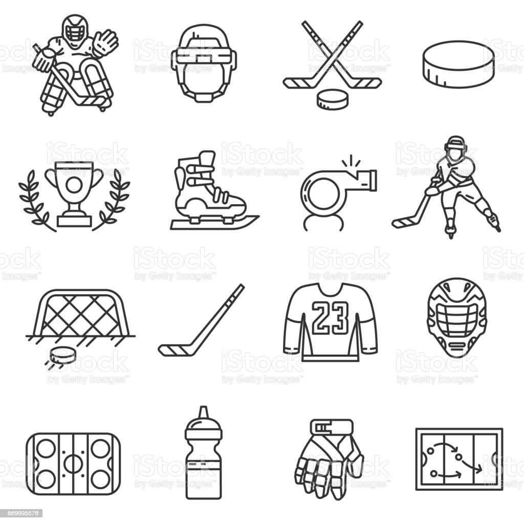 hockey icons set. Editable stroke vector art illustration