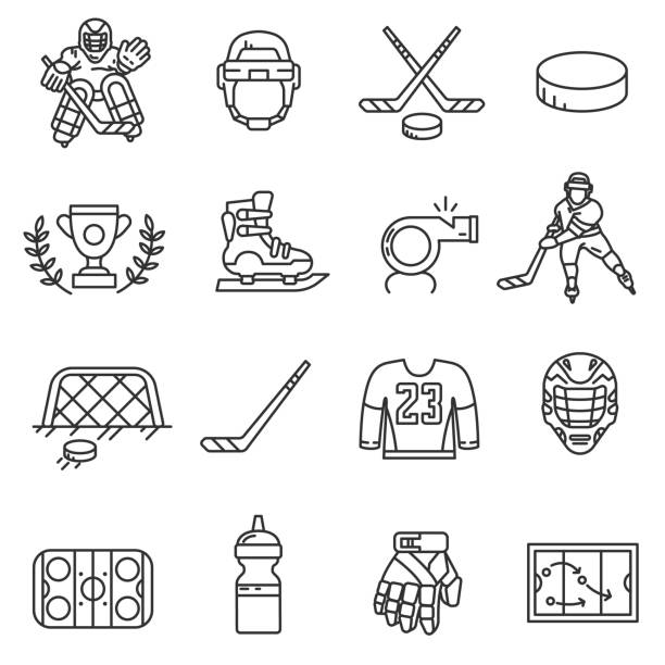 ilustrações, clipart, desenhos animados e ícones de conjunto de ícones de hóquei. curso editável - hóquei