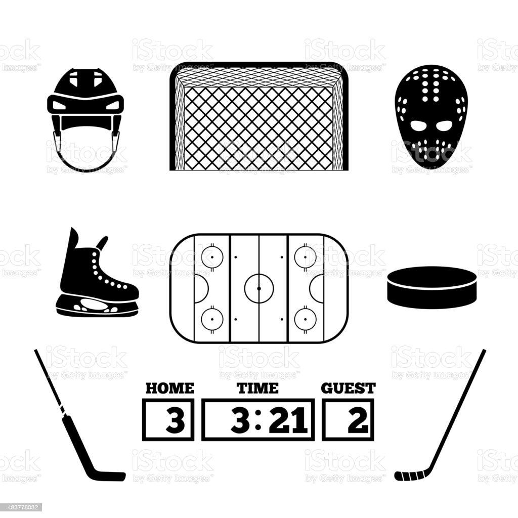 Hockey icons vector art illustration