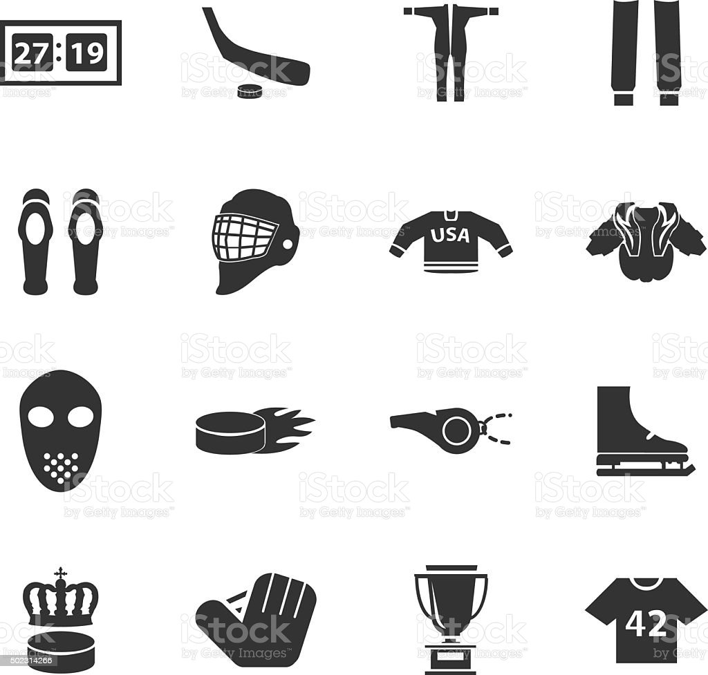 Hockey icons vector art illustration