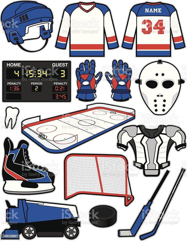 Hockey Items vector art illustration