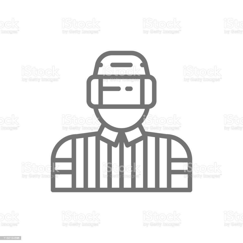 Hockey Judge Referee Arbiter Line Icon Stock Illustration