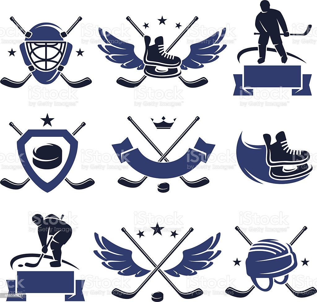 Hockey labels and icons set. Vector vector art illustration
