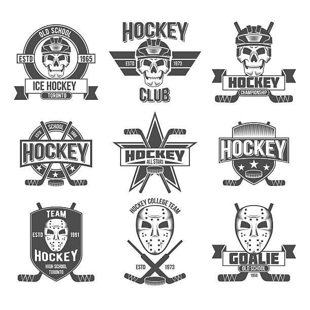ilustraciones, imágenes clip art, dibujos animados e iconos de stock de logotipo conjunto de hockey - hockey