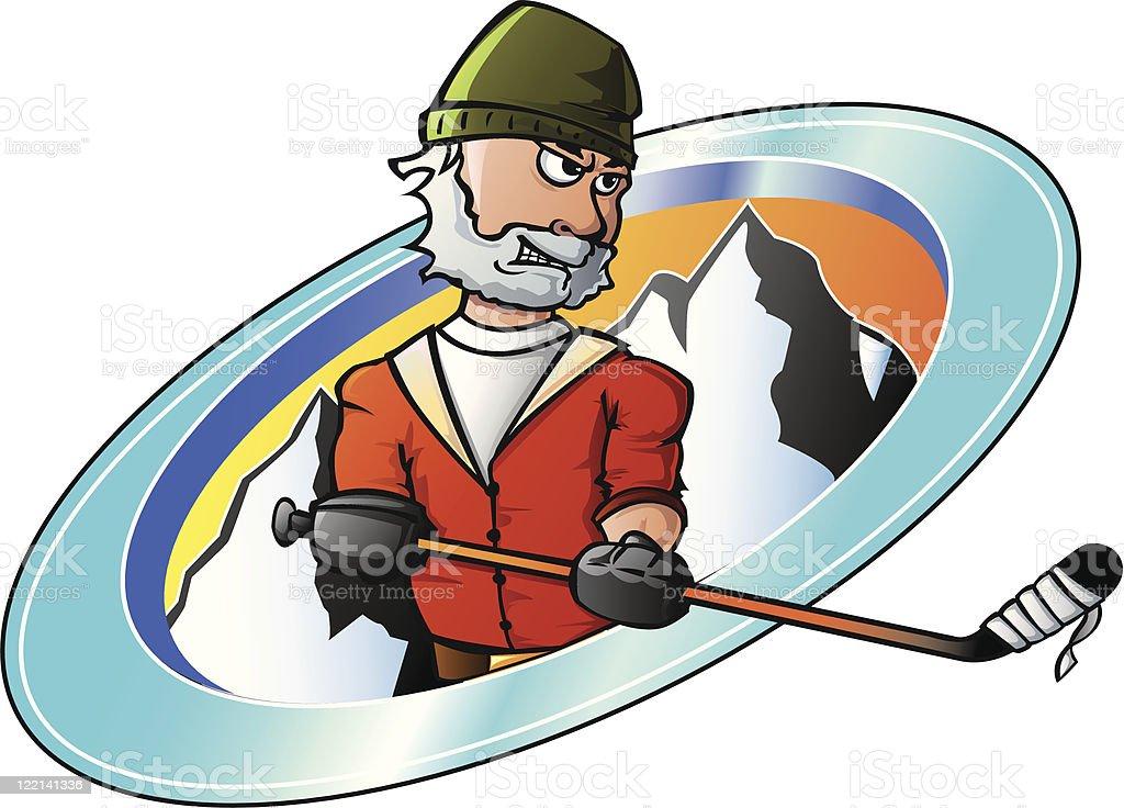 Hockey lumberjack player vector art illustration