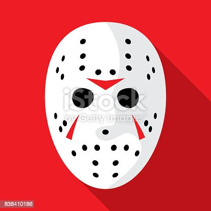 Vector illustration of a hockey mask against a red background in flat style.