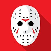 Hockey Mask Icon Flat