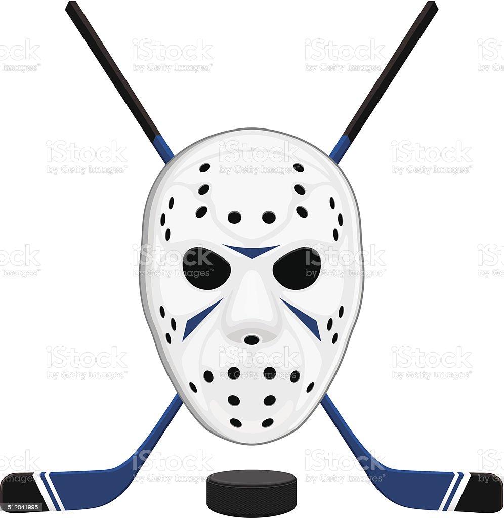 Hockey Mask, Puck and Sticks vector art illustration