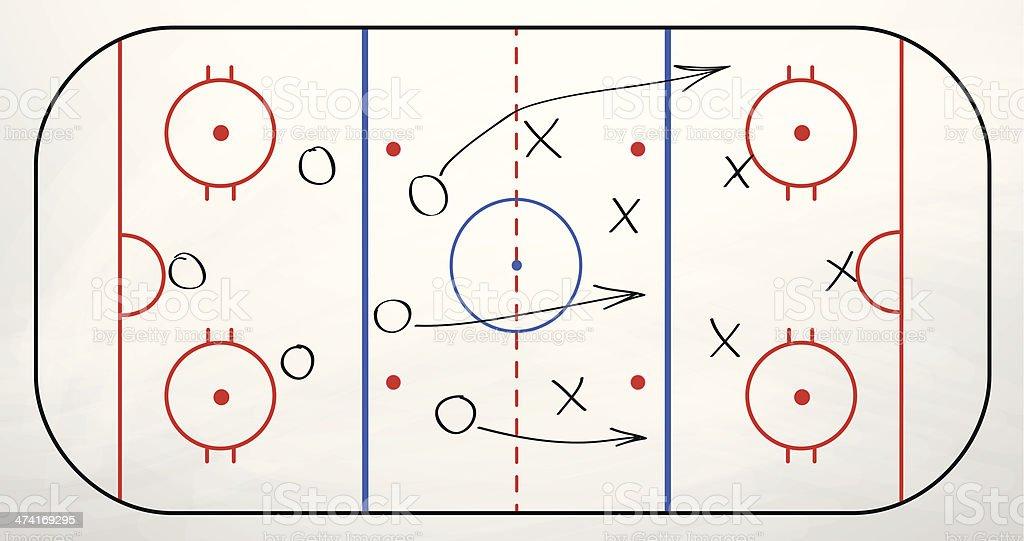 Hockey play over board vector art illustration