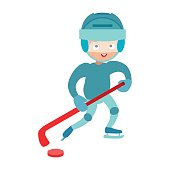Hockey player boy vector.