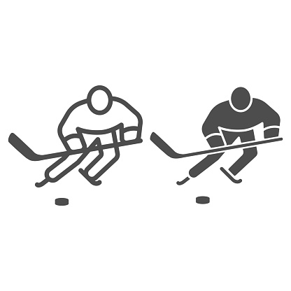 Hockey player line and solid icon, Winter sport concept, Playing hockey sign on white background, ice hockey player icon in outline style for mobile concept and web design. Vector graphics.