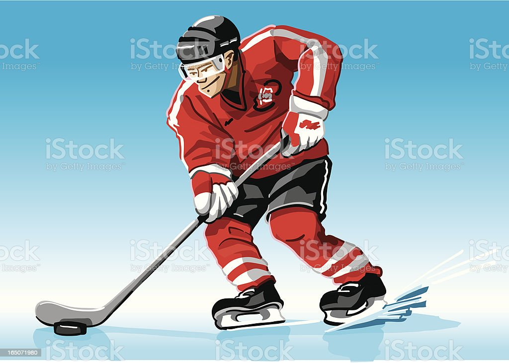 Hockey Player Red royalty-free stock vector art