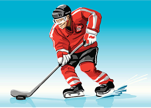 """Hockey Player Red """"Vector Illustration of a ice-hockey player with a red jersey. The background is on a separate layer, so you can use the illustration on your own background. The colors in the .eps and .ai-files are ready for print (CMYK). Included files: EPS (v8), AI (CS2) and Hi-Res JPG."""" winter sport stock illustrations"""