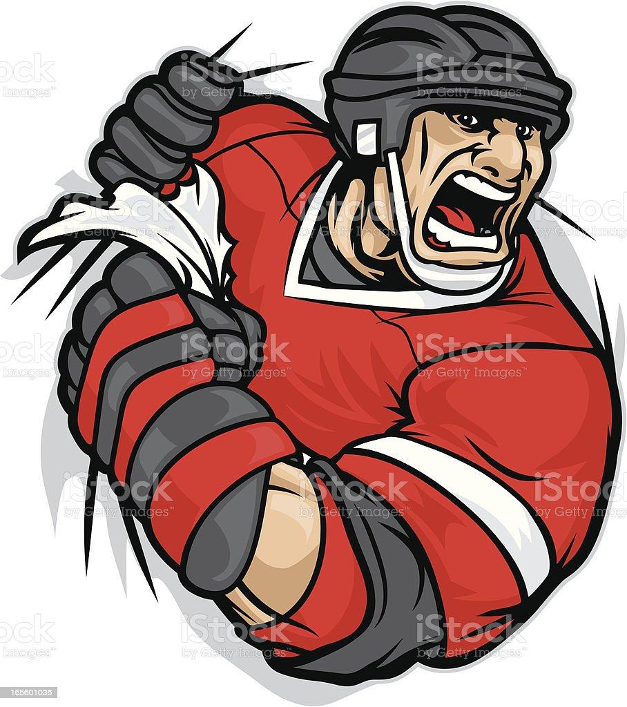 Hockey Player Rip vector art illustration