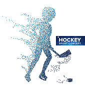 Hockey Player Silhouette Vector. Grunge Halftone Dots. Dynamic Ice Hockey Athlete In Action. Sport Banner, Game Competitions, Event Concept. Isolated Illustration