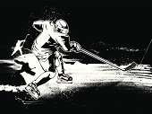 Hockey player skating on ice with stick b&w vector image