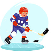 Hockey player stick puck ice skates flat design vector illustration