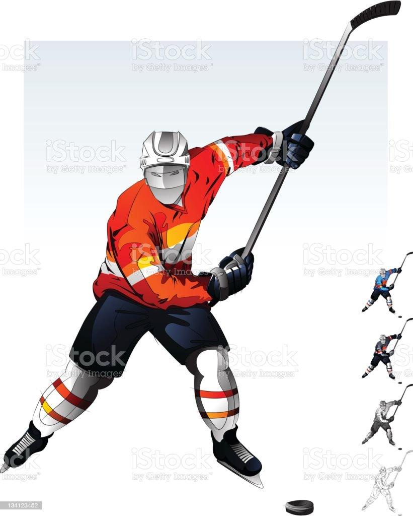 Hockey Player. vector art illustration